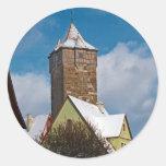 Rothenburg od Tauber - escena del invierno Etiquetas Redondas