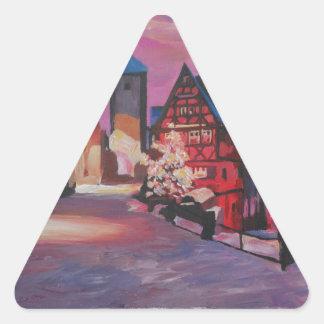 Rothenburg romántico Tauber Alemania en invierno Pegatina Triangular