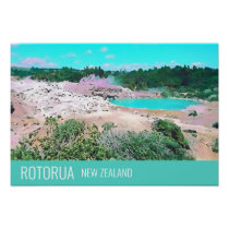 Rotorua hot springs New Zealand travel print