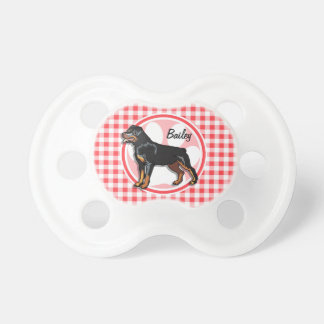 Rott; Red and White Gingham Pacifiers