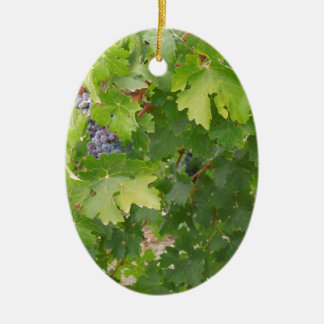Rotta Dry Farmed Grapes on the Vine Double-Sided Oval Ceramic Christmas Ornament