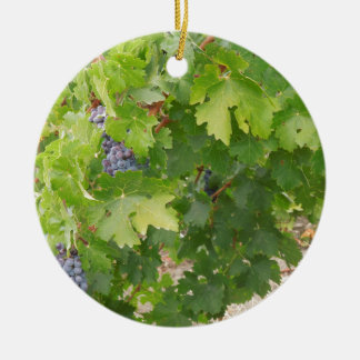 Rotta Dry Farmed Grapes on the Vine Double-Sided Ceramic Round Christmas Ornament