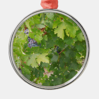 Rotta Dry Farmed Grapes on the Vine Round Metal Christmas Ornament