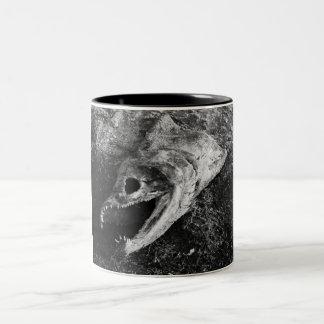 Rotten Fish Head Bones Two-Tone Coffee Mug