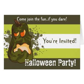 Rotten Green Pumpkin Halloween Invitation