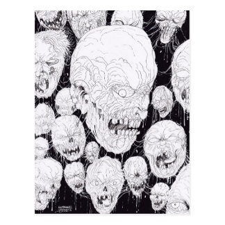 Rotten Ugly Zombies Heads Postcard
