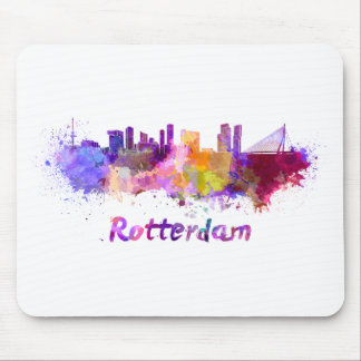 Rotterdam skyline in watercolor mouse pad