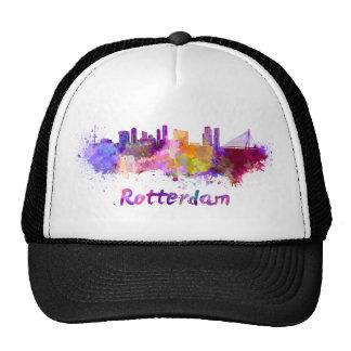 Rotterdam skyline in watercolor trucker hat