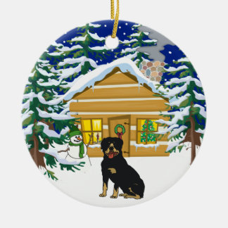 Rottie Christmas Log Cabin Ceramic Ornament