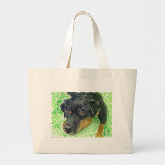 Rottie Looking at You... ready to play? Large Tote Bag