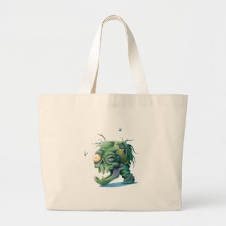 Rotting Head Skull for Halloween Large Tote Bag