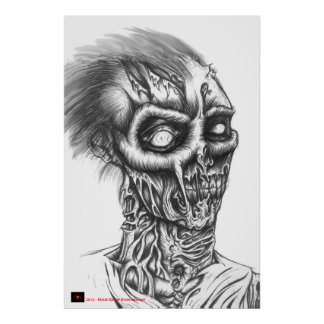 Rotting Zombie BIC Pen Sketch -  Black and White Print