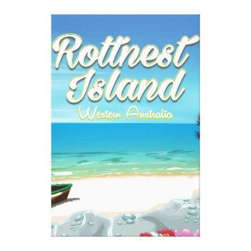 Beach Themed Rottnest Island Australia ocean travel poster Canvas Print