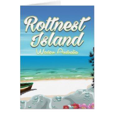 Beach Themed Rottnest Island Australia ocean travel poster Card