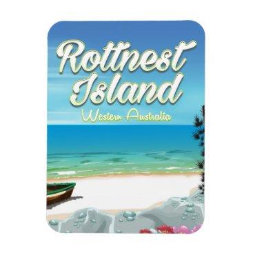 Beach Themed Rottnest Island Australia ocean travel poster Magnet