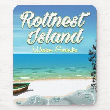 Beach Themed Rottnest Island Australia ocean travel poster Mouse Pad