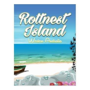 Beach Themed Rottnest Island Australia ocean travel poster Postcard