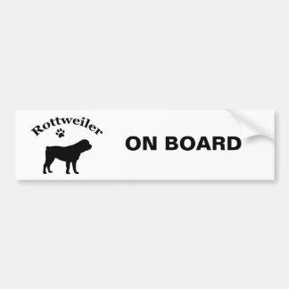 Rottweiler a bordo pegatina para el parachoques de pegatina para auto