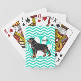Rottweiler; Aguamarina Chevron verde Barajas De Cartas