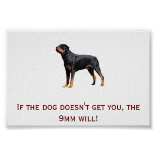 Rottweiler and 9mm posters