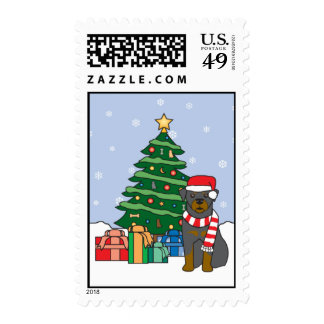 Rottweiler and Christmas Tree Postage Stamps