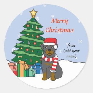 Rottweiler and Christmas Tree Round Sticker