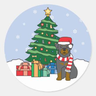 Rottweiler and Christmas Tree Sticker