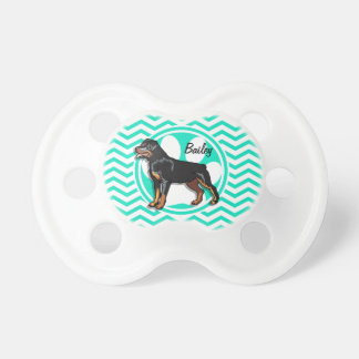 Rottweiler; Aqua Green Chevron Baby Pacifier