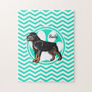 Rottweiler; Aqua Green Chevron Puzzle