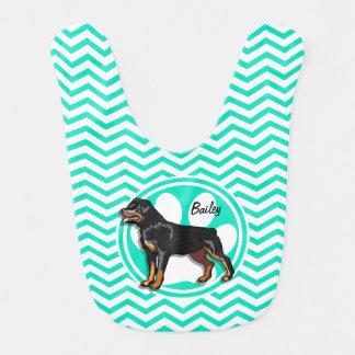 Rottweiler; Aqua Green Chevron Bib