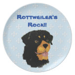 Rottweiler - azul con el diseño blanco del diamant plato de comida