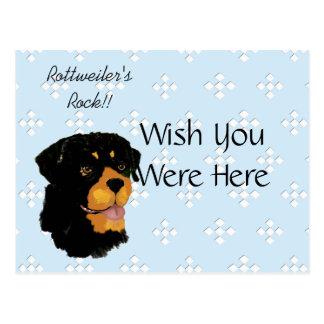 Rottweiler - azul con el diseño blanco del tarjetas postales
