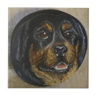 Rottweiler Azulejo Cuadrado Pequeño