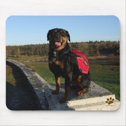 Rottweiler Backpacking Mouse Pad