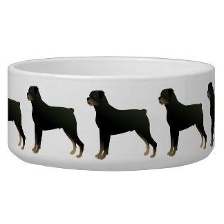 Rottweiler Basic Dog Breed Illustration Silhouette Bowl