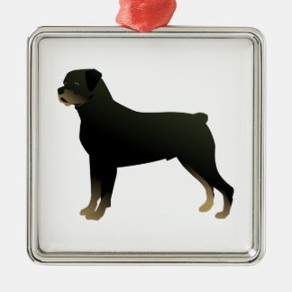Rottweiler Basic Dog Breed Illustration Silhouette Metal Ornament