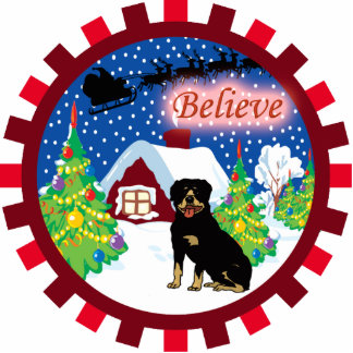rottweiler believe in santa ornament