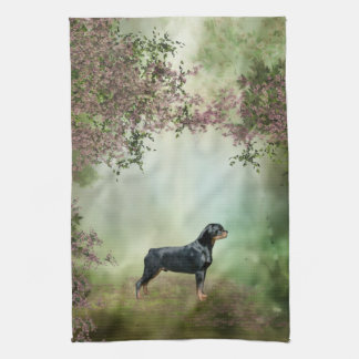 Rottweiler Blossom Kitchen Towel