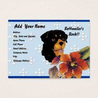 Rottweiler - Blue w/ White Diamond Design Business Card