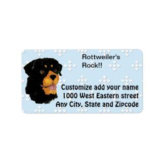Rottweiler - Blue w/ White Diamond Design Label