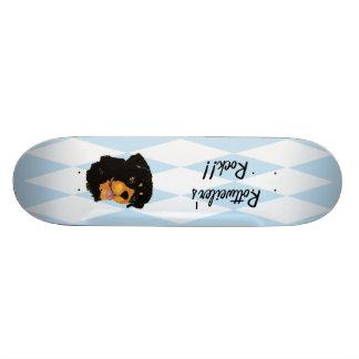 Rottweiler - Blue w/ White Diamond Design Skateboard Deck