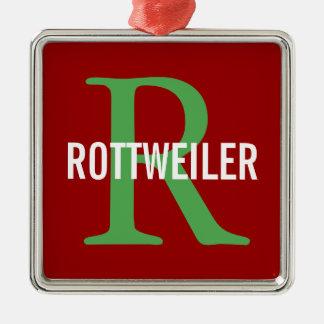 Rottweiler Breed Monogram Design Metal Ornament