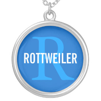 Rottweiler Breed Monogram Design Silver Plated Necklace