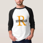 Rottweiler Breed Monogram Design T-Shirt