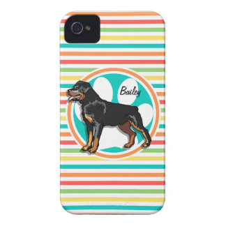 Rottweiler; Bright Rainbow Stripes iPhone 4 Cover