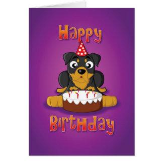 rottweiler - cake - happy birthday greeting card