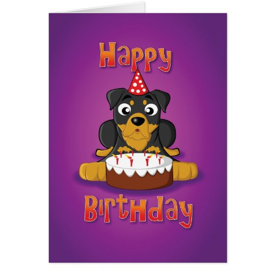 rottweiler - cake - happy birthday card