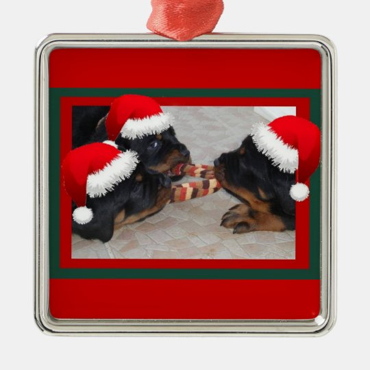 Rottweiler Christmas: A Time of Joyous Giving Metal Ornament