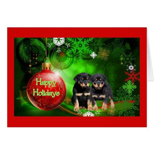 Zazzle Rottweiler Christmas Card Happy Holidays Ball