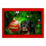 Rottweiler Christmas Card Happy Holidays Ball